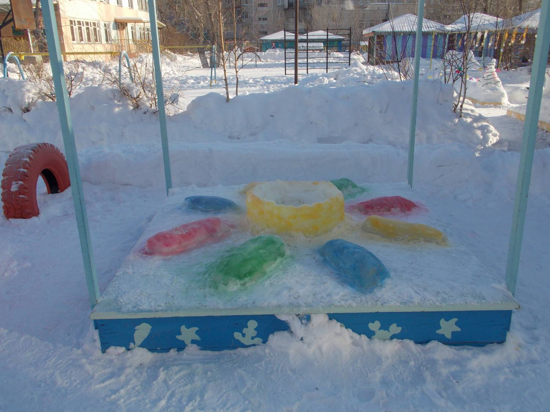 Зимние постройки из снега в детском саду фото 3