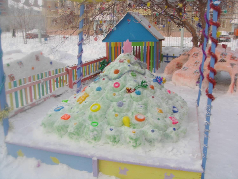 Поделки на участках детского сада своими руками зимой